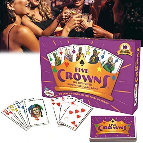 Kartenspiel, Fünf Kronen Kartenspiel,Poker Brettspiel Rommé Kartenspiel Bequemes tragbares Familienfest Brettspiel Spaß Freunde Kartenspiel,einfach zu Spielen,englische Version