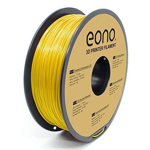 Amazon Brand- Eono, filamento per stampa 3D, materiale PLA, 1,75 mm(± 0.03 mm), 1 kg,giallo,alta tenuta e ottime prestazioni in overhang.