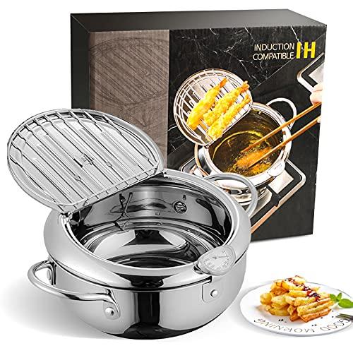 Deep Frying Pan,Temperature Control Fryer Japanese-style Tempura Deep Fryer Lid And Oil Drip Drainer Rack Nonstick Stainless Steel Fryer Pot for Kitchen Cooking 24cm304
