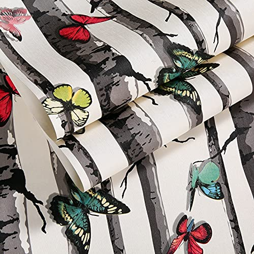 QWESD Árboles de imitación Retro Chino Papel Tapiz de Fondo Pasillo de Entrada Delantal de jardín de Infantes Personalidad imitación Madera Mariposa Papel Tapiz A