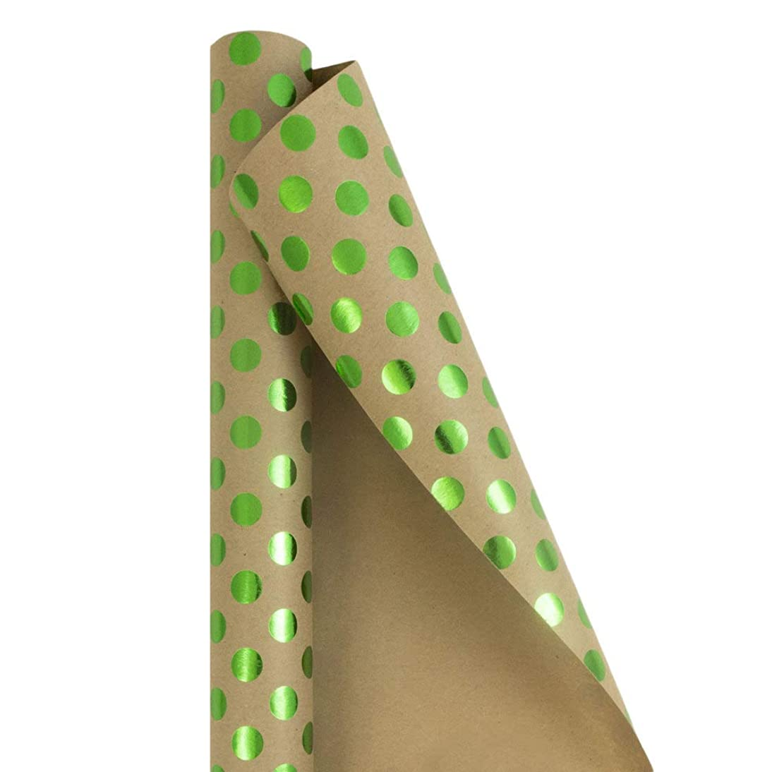 JAM PAPER Gift Wrap - Kraft Wrapping Paper - 25 Sq Ft - Green Foil Polka Dots on Brown Kraft Paper - Roll Sold Individually
