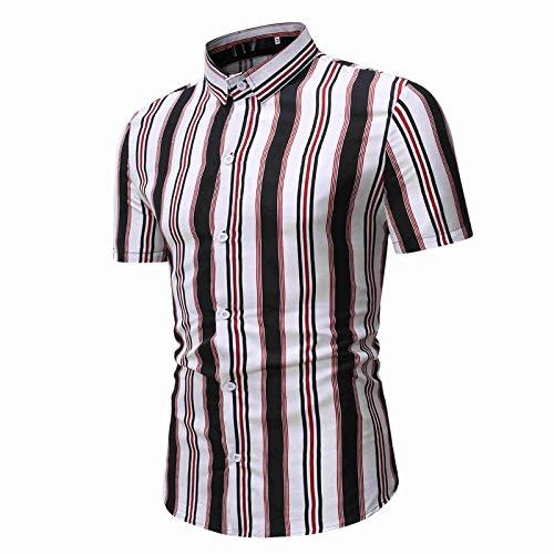 Camisa a Rayas para Hombre con Bloques de Color Ropa de Calle Tendencia de la Moda Todo fósforo Clásico de un Solo Pecho Camisas básicas de Manga Corta XXL