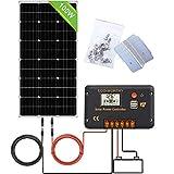 ECO-WORTHY Kit de sistema de paneles monocristalinos de 100 W, panel solar de 100 W con controlador de carga de 20 A para carga de energía de 12 V fuera de la red, RV, barco marino