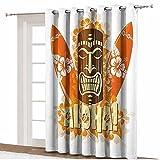 ousente Tiki Bar Decor - Cortinas opacas anchas, diseño de flores de hibisco, color naranja, tabla de surf Aloha Tropical Verano Decorativo Divisor de habitación, 365 cm x 245 cm, para dormitorio