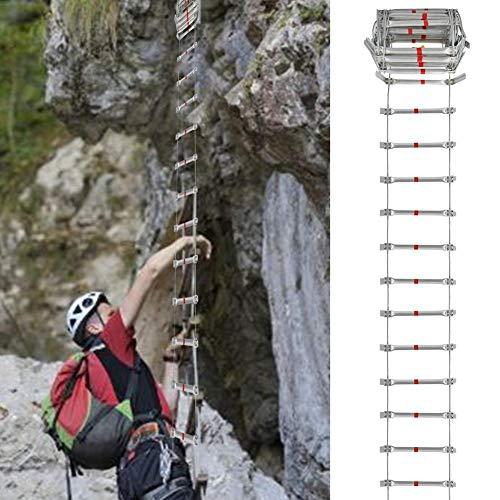 Chinejaper reddingsladder, intrekbare klimtouwladder, vluchtladder & multifunctionele ladder, fitnesstrainer perfect voor vuur, zelfhulp, 38 cm, waterdicht, draagbaar, duurzaam, draagvermogen 300 kg