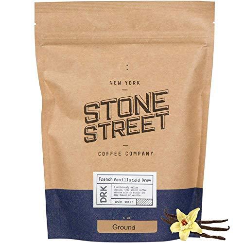 Stone Street Cold Brew Flavored Coffee, Natural French Vanilla Flavor, Coarse Ground Coffee, Dark Roast, 1 LB