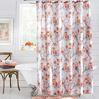 BrylaneHome 13 Piece Waverly Floral Shower Curtain Cabbage Rose