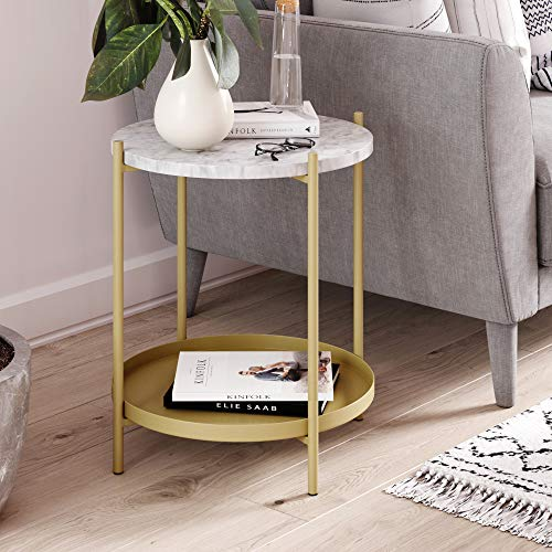 Nathan James Alexis Faux Marble Round End Side Table with Brass Metal Frame Storage, White/Gold