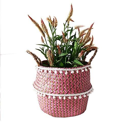 Szetosy - Cesta de junco para almacenamiento de Goodchance UK, con pompones. Cesta plegable tejida y con asa para ropa, juguetes, plantas o para usar en el cuarto del bebé, Estilo#12, 27x24cm