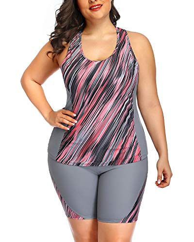 Daci Women Plus Size Tankini High Waisted Racerback Two Piece Swimsuit Grey Pink Floral 18 Plus