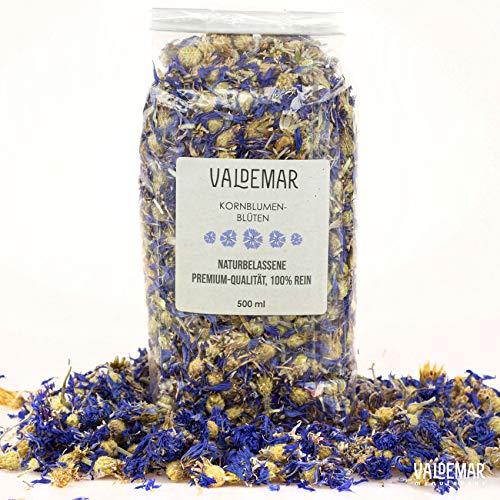 Valdemar Manufaktur essbare Premium Blaue KORNBLUMEN-Blüten, 500ml - HANDVERPACKT In Deutschland