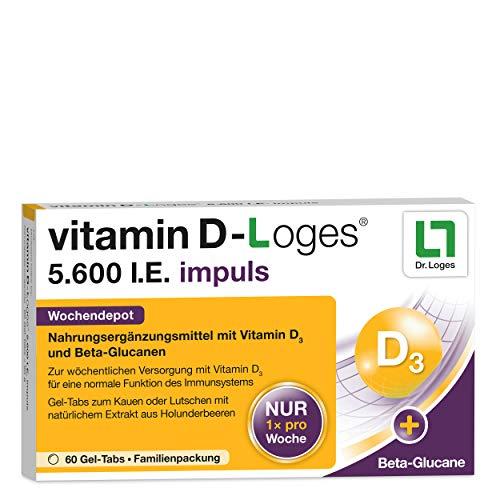 vitamin D-Loges® 5.600 I.E. impuls 60 Gel-Tabs - Wochendepot, hochdosiert - Praktisches Gel-Tab für die ganze Familie - Mit Beta-Glucan und hochwertigem Extrakt aus Holunderbeeren