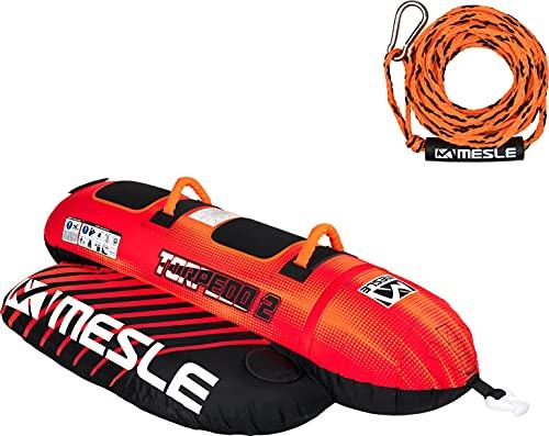 MESLE Tube Set Torpedo mit Leine, 2, 3, 4 Personen, Towable Banana-Boat, 840 D Nylon, aufblasbar, für Kinder & Erwachsene, Wasser-Sport Fun-Tube, Bananen-Boot, Wassergleiter, Personenanzahl:2P