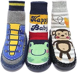 Adorel Calcetines Zapatos Antideslizantes para Bebé 3 Pares Happybaby & Rana & Mono 21-22 (Tamaño del Fabricante 14)