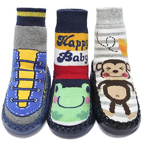 Adorel Baby Hüttenschuhe Gefüttert Socken Rutschfest 3 Paar Sneaker & Frosch & Affe 21-22 (Herstellergröße 14)