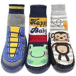 Adorel Calcetines Zapatos Antideslizantes para Bebé 3 Pares Happybaby & Rana & Mono 23 (Tamaño del Fabricante 15)