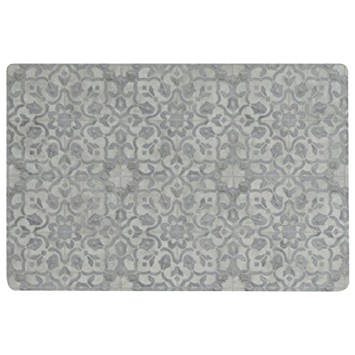 Vinyl Floor Mat, Durable, Soft and Easy to Clean, Ideal for Kitchen Floor, Mudroom or Pet Food Mat. Freestyle, Pewter Filigree Pattern (2 ft x 3 ft)
