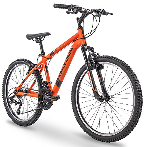 24' Royce Union RTT Mens 21-Speed Mountain Bike, Aluminum Frame, Trigger Shift, Matte Tangerine (74408)
