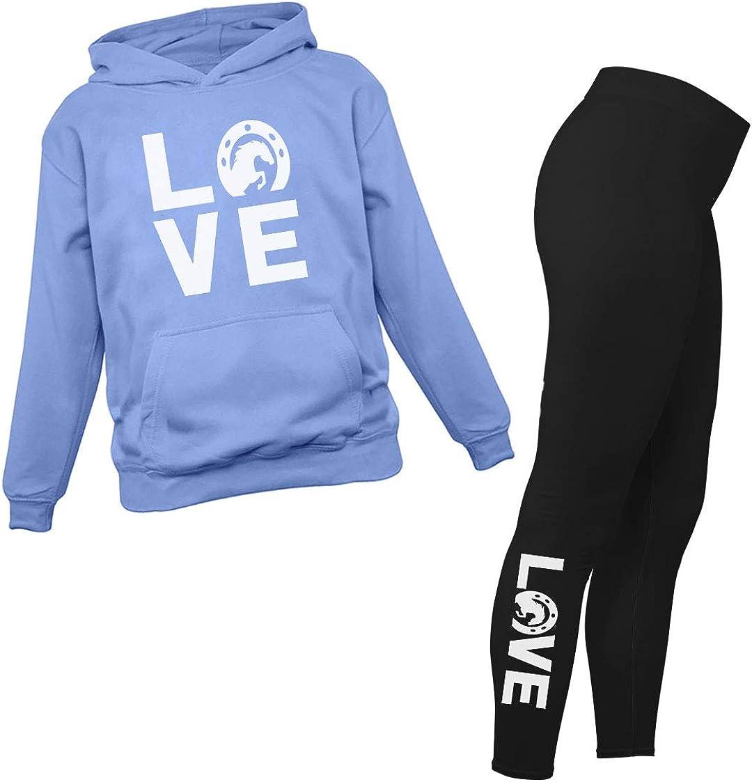 Love Horses Leggings and Hoodie for Women Teen Girls Set Gift for Horse Lover