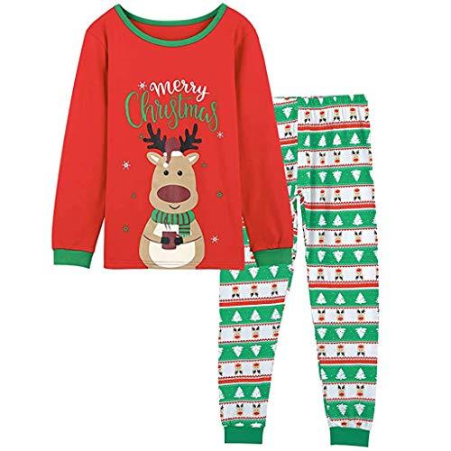 JoJody - Pijama de Navidad para adulto, niño, madre o niña, diseño de letra Enfants Rouge 3-4 Años
