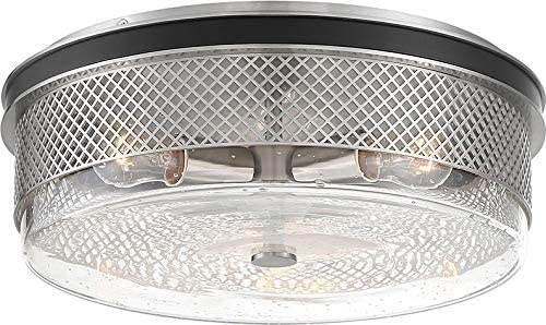 """discount Minka Lavery wholesale 1059-691 Coles crossing Metal Mesh & Seedy Glass Drum Flush high quality Mount, 3-Light 180 Total Watts, Coal w/ Brushed Nickel, 5""""H x 15""""W outlet online sale"""