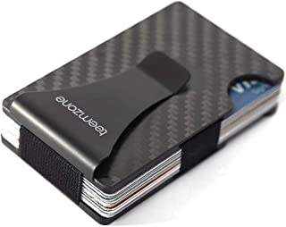 Men's Wallet,Money Clip,RFID Blocker,Minimalist Carbon Fibre Mens Slim Wallets Metal Blocking Signal Front Pocket Aluminiu...