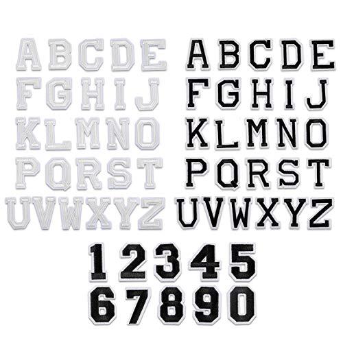 62 Stück Aufnäher Patches Groß-Buchstaben+Zahlen Applikationen zum Aufnähen Nähen Set für Kinder,Schwarz Weiß Alphabet A-Z Auf-Bügelflicken Bügelbilder Aufbügler Aufbügeln für Schuhe Hut Tasche Jeans
