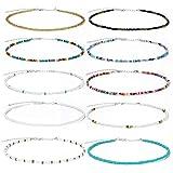 10 Stück Boho Choker Halskette Set für Frauen Perlenkette Choker Boho Hawaiian Rainbow...