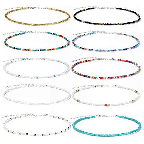 10 Stück Boho Choker Halskette Set für Frauen Perlenkette Choker Boho Hawaiian Rainbow verstellbare Bunte Summer Beach Halsketten für Frauen Mädchen