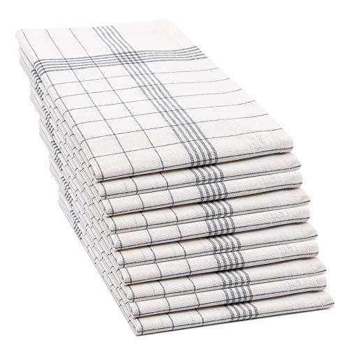 ZOLLNER 10er Set Geschirrtücher, 50x70 cm, 100{a74e586e59564bce556d9133a272b00a68dc1057cbd10bfd03ed8ee5c20a6426} Baumwolle, 170 GSM, grau kariert