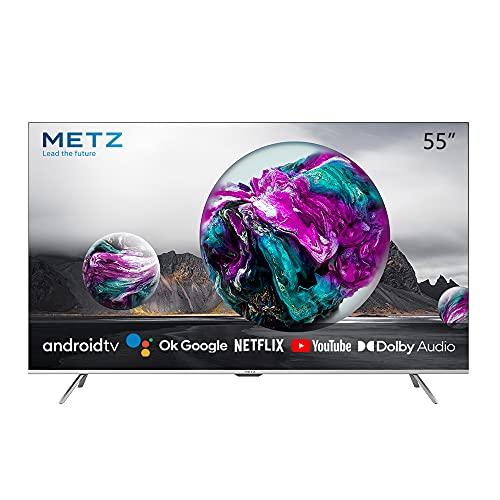 METZ Android 10.0 TV Serie MUC7000, LED Direct, UHD 3840x2160, 55' (139 cm), HDR10/HLG, HDMI, ARC, USB, Slot CI+, Dolby Digital, DVB-C/T2/S2, HEVC MAIN10, Argento [Efficienza energetica classe F]