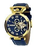 Calvaneo 1583Orologio da polso da uomo modello Venedi 107933, oro, blu, analogico, automatico, in pelle