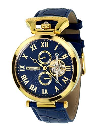 Calvaneo 1583 Herren-Armbanduhr Venedi Gold BLUE Analog Automatik Leder blau 107933
