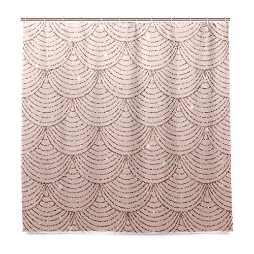 ALAZA Fabric Shower Curtain, 72 X 72 inch, Rose Gold Glitter Mermaid Scales Waterproof Bathroom Curtain with 12 Hooks for Bathroom, Showers and Bathtubs
