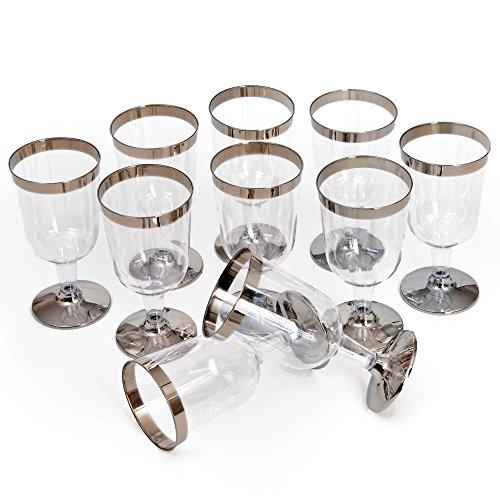 GRÄWE Einweg-Trinkbecher 0,2 Liter, 10er Set - stabile Plastikbecher, transparent, mit Silberrand