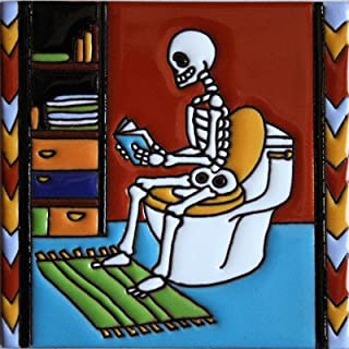 Fine Crafts Imports 6x6 Reading The News. Day-of-The-Dead Clay Tile