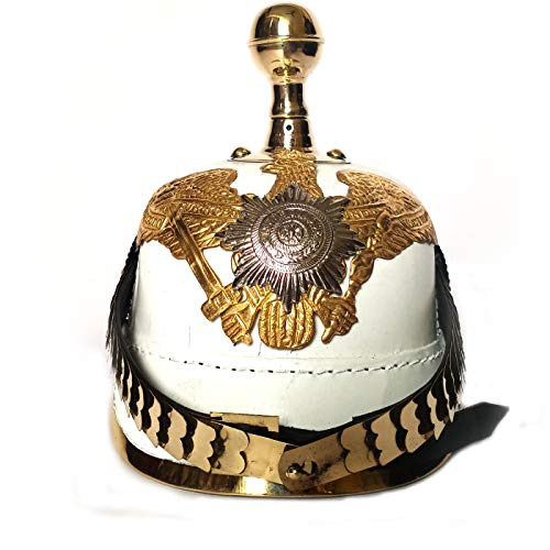 AnNafi weißer deutscher Pickelhaube-Helm aus Leder, Pickelhauben Imperial Preussian...