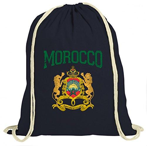 Shirt Happenz Marokko Wappen Premium Turnbeutel   Marokko   Königreich Marokko   Rabat   Unisex   Gymbag, Farbe:Navyblau (Gymbeutel);Größe:37cm x 46 cm