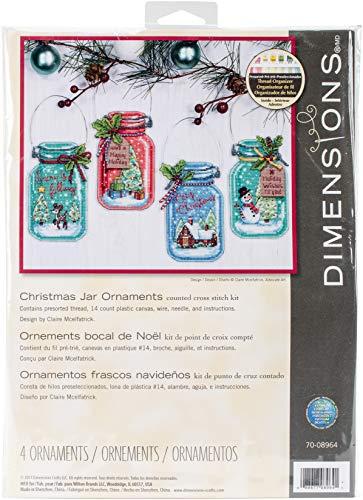 Dimensions 70-08964 Counted Cross Stitch Holiday Mason Jar Ornament Kit, 4pc