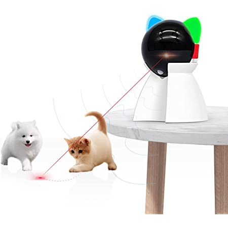 Rechargeable Motion Activated Cat Laser Toy Automatic,Interactive Cat Toys for Indoor Kitten/Dogs/Puppy,Three Installation Methods,Fast and Slow Mode