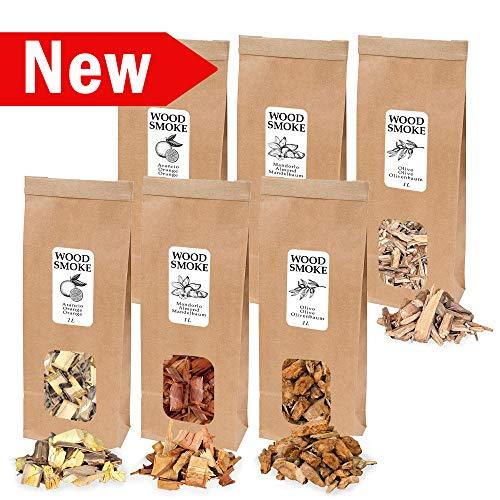 Wood Chips for Smoking Wood Chips for BBQ Chippati for Barbecue - 1x1L Olivo, 1x1L Orange, 1x1L Almond, 1x1L Lemon, 1x1L Walnut, 1x1L Oak