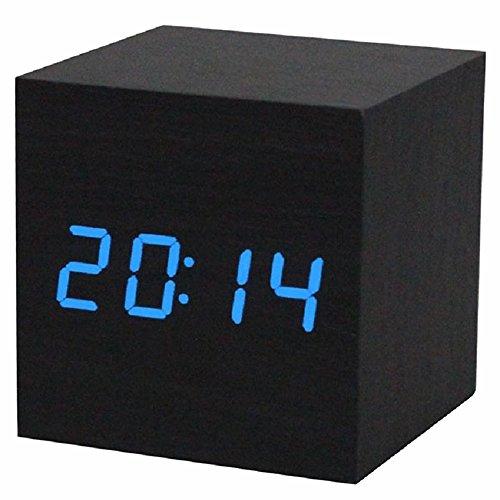 Reloj digital - SODIAL(R) Reloj despertador   reloj de mesa digital de madera con puerto USB, funciona con baterias AAA - Negro  azul
