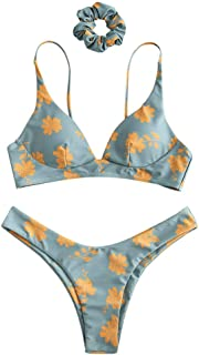 ZAFUL Bikini Set Donna Imbottito con Spalline a Spaghetti Beachwear Costume da Bagno Stringato Stampato