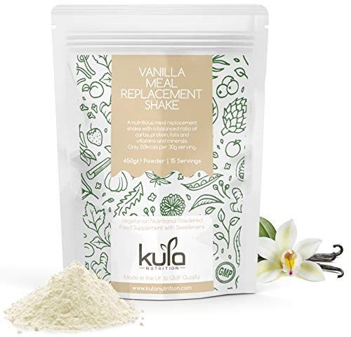 Vanilla Meal Replacement Shake - 450g 15x Servings - Easy to Mix Diet Slim Shake Drink, Low Calorie, Low Sugar and Fat - Balanced Ratio of Protein, Carbs Plus Vitamins and Minerals - Kula Nutrition.