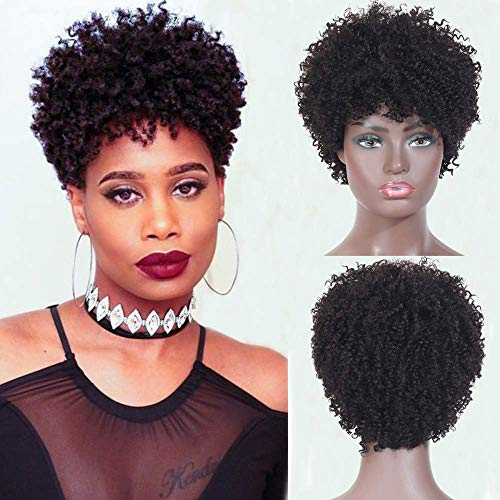 Ms Taj Short Afro Kinky Curly Human Hair Wigs For Black Women Brazilian Virgin Short Curly Afro Wigs None Lace 150 Density Unprocessed Afro Wig Human Hair Curly Machine Made Buy Online