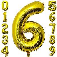 大きい 6 数字バルーン バースデー パーティー 誕生日 風船 飾り セット ゴールデン (0-9)40inch,100cm (6)