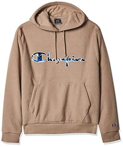 Champion Life Men's Sherpa Pullover Hoodie, Dark Khaki, Small 🔥