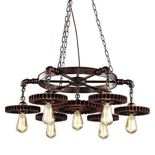 Pendelleuchte Holz Vintage Kronleuchter Industrial Hängelampe Retro Hängeleuchte Drehbar Retro Metall für E27 Leuchtmittel Pendellampe geeignet für Wohzimmer Esstisch Küche Wohnzimmer