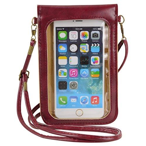 Vaytong Handy-Geldbörse mit Touchscreen Klarsichtfenster Crossbody-Tasche für iPhone 11 Pro Max, XS Galaxy S10 Plus S9+, A10S A10, Pixel 3 XL 2XL Moto G8 Play Z4 Z3 OnePlus 6T BLU G90 (klar), klein