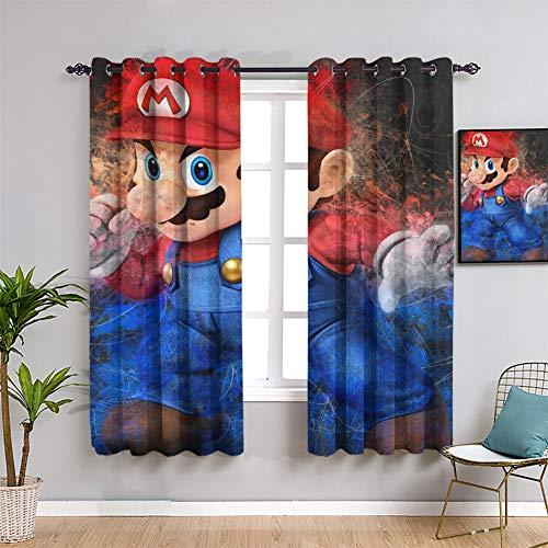 Games And Anime Super Mario - Cortinas opacas para dormitorio Super Mario para habitación de niños, 163 x 182 cm